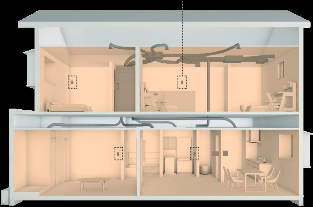 各部屋の温度センサーが室温変動を検知